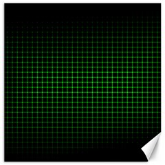 Optical Illusion Grid in Black and Neon Green Canvas 12  x 12