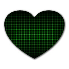 Optical Illusion Grid in Black and Neon Green Heart Mousepads