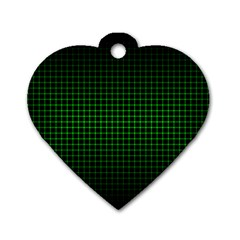 Optical Illusion Grid in Black and Neon Green Dog Tag Heart (Two Sides)