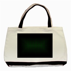 Optical Illusion Grid in Black and Neon Green Basic Tote Bag (Two Sides)