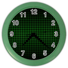 Optical Illusion Grid in Black and Neon Green Color Wall Clocks