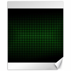 Optical Illusion Grid in Black and Neon Green Canvas 11  x 14