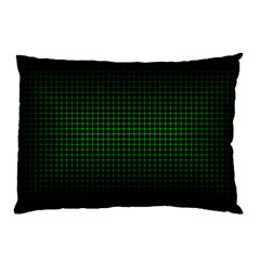 Optical Illusion Grid in Black and Neon Green Pillow Case