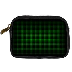 Optical Illusion Grid in Black and Neon Green Digital Camera Cases