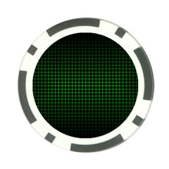 Optical Illusion Grid in Black and Neon Green Poker Chip Card Guard (10 pack)