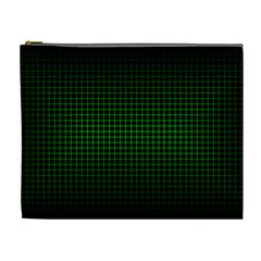 Optical Illusion Grid in Black and Neon Green Cosmetic Bag (XL)