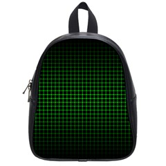 Optical Illusion Grid in Black and Neon Green School Bags (Small)