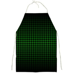 Optical Illusion Grid in Black and Neon Green Full Print Aprons
