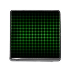 Optical Illusion Grid in Black and Neon Green Memory Card Reader (Square)