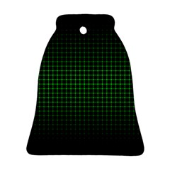 Optical Illusion Grid in Black and Neon Green Bell Ornament (Two Sides)