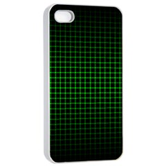 Optical Illusion Grid in Black and Neon Green Apple iPhone 4/4s Seamless Case (White)