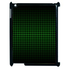 Optical Illusion Grid in Black and Neon Green Apple iPad 2 Case (Black)
