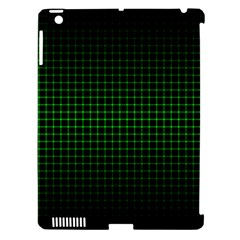Optical Illusion Grid in Black and Neon Green Apple iPad 3/4 Hardshell Case (Compatible with Smart Cover)
