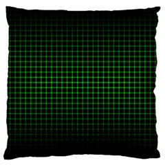Optical Illusion Grid in Black and Neon Green Large Cushion Case (One Side)