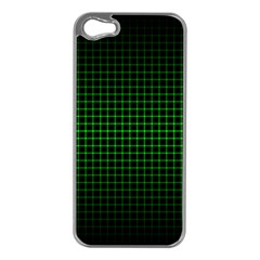Optical Illusion Grid in Black and Neon Green Apple iPhone 5 Case (Silver)