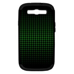 Optical Illusion Grid in Black and Neon Green Samsung Galaxy S III Hardshell Case (PC+Silicone)