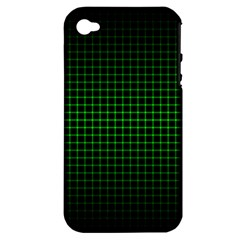 Optical Illusion Grid in Black and Neon Green Apple iPhone 4/4S Hardshell Case (PC+Silicone)