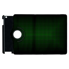 Optical Illusion Grid in Black and Neon Green Apple iPad 2 Flip 360 Case