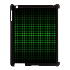 Optical Illusion Grid in Black and Neon Green Apple iPad 3/4 Case (Black)