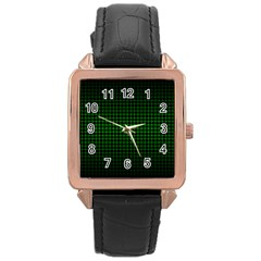 Optical Illusion Grid In Black And Neon Green Rose Gold Leather Watch