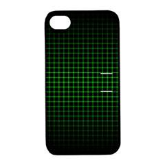 Optical Illusion Grid in Black and Neon Green Apple iPhone 4/4S Hardshell Case with Stand