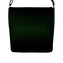Optical Illusion Grid in Black and Neon Green Flap Messenger Bag (L)