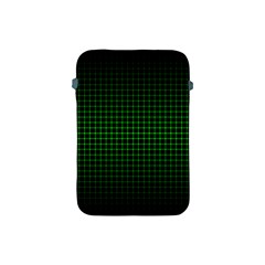 Optical Illusion Grid in Black and Neon Green Apple iPad Mini Protective Soft Cases