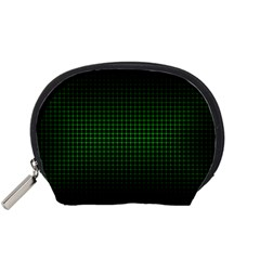 Optical Illusion Grid in Black and Neon Green Accessory Pouches (Small)