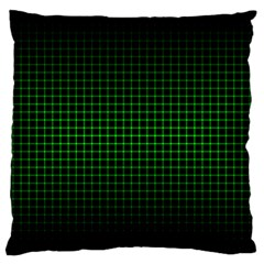 Optical Illusion Grid in Black and Neon Green Large Flano Cushion Case (One Side)