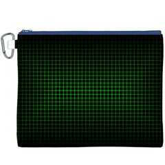 Optical Illusion Grid in Black and Neon Green Canvas Cosmetic Bag (XXXL)