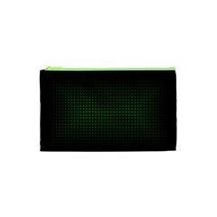 Optical Illusion Grid in Black and Neon Green Cosmetic Bag (XS)