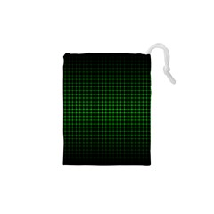 Optical Illusion Grid in Black and Neon Green Drawstring Pouches (XS)
