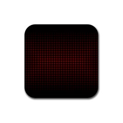 Optical Illusion Grid in Black and Red Rubber Square Coaster (4 pack)