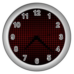 Optical Illusion Grid in Black and Red Wall Clocks (Silver)