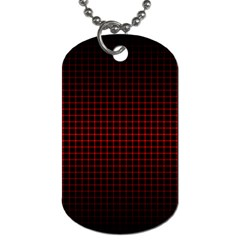 Optical Illusion Grid in Black and Red Dog Tag (One Side)
