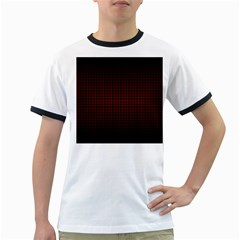 Optical Illusion Grid in Black and Red Ringer T-Shirts