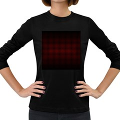 Optical Illusion Grid in Black and Red Women s Long Sleeve Dark T-Shirts