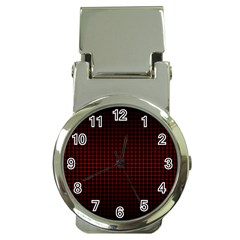 Optical Illusion Grid in Black and Red Money Clip Watches