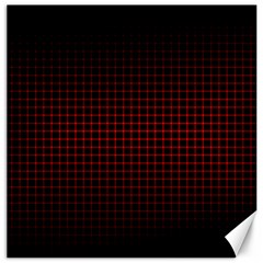 Optical Illusion Grid in Black and Red Canvas 20  x 20