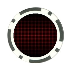 Optical Illusion Grid in Black and Red Poker Chip Card Guard