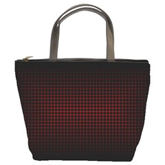 Optical Illusion Grid in Black and Red Bucket Bags