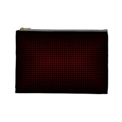 Optical Illusion Grid in Black and Red Cosmetic Bag (Large)