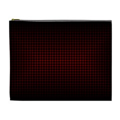 Optical Illusion Grid in Black and Red Cosmetic Bag (XL)