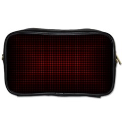 Optical Illusion Grid in Black and Red Toiletries Bags