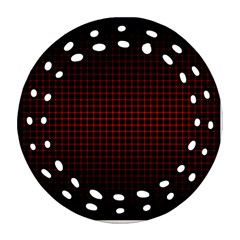 Optical Illusion Grid in Black and Red Round Filigree Ornament (Two Sides)