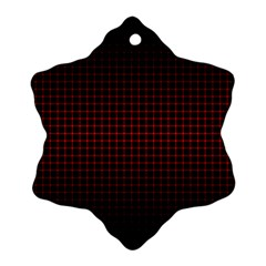 Optical Illusion Grid in Black and Red Snowflake Ornament (Two Sides)