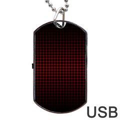 Optical Illusion Grid in Black and Red Dog Tag USB Flash (One Side)