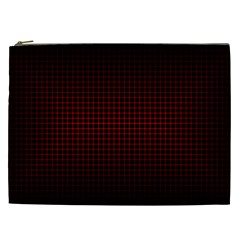 Optical Illusion Grid in Black and Red Cosmetic Bag (XXL)