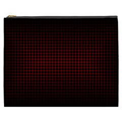 Optical Illusion Grid in Black and Red Cosmetic Bag (XXXL)