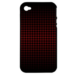 Optical Illusion Grid in Black and Red Apple iPhone 4/4S Hardshell Case (PC+Silicone)